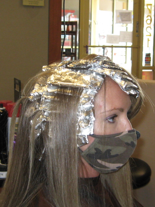 Hair Color with highlights in process